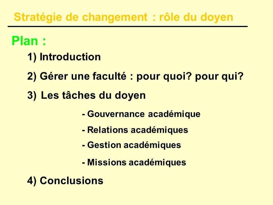 Plan : 1) Introduction 2) Gérer une faculté : pour quoi.