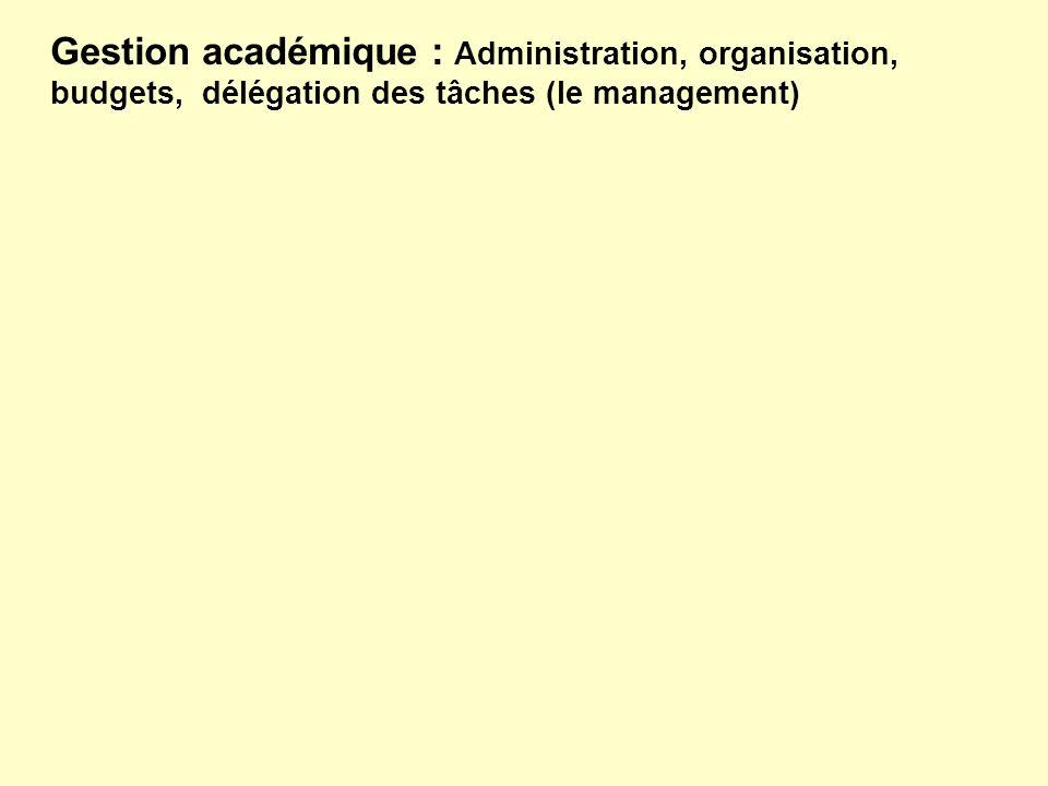 Gestion académique : Administration, organisation, budgets, délégation des tâches (le management)