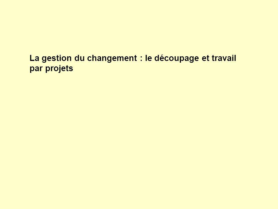 La gestion du changement : le découpage et travail par projets