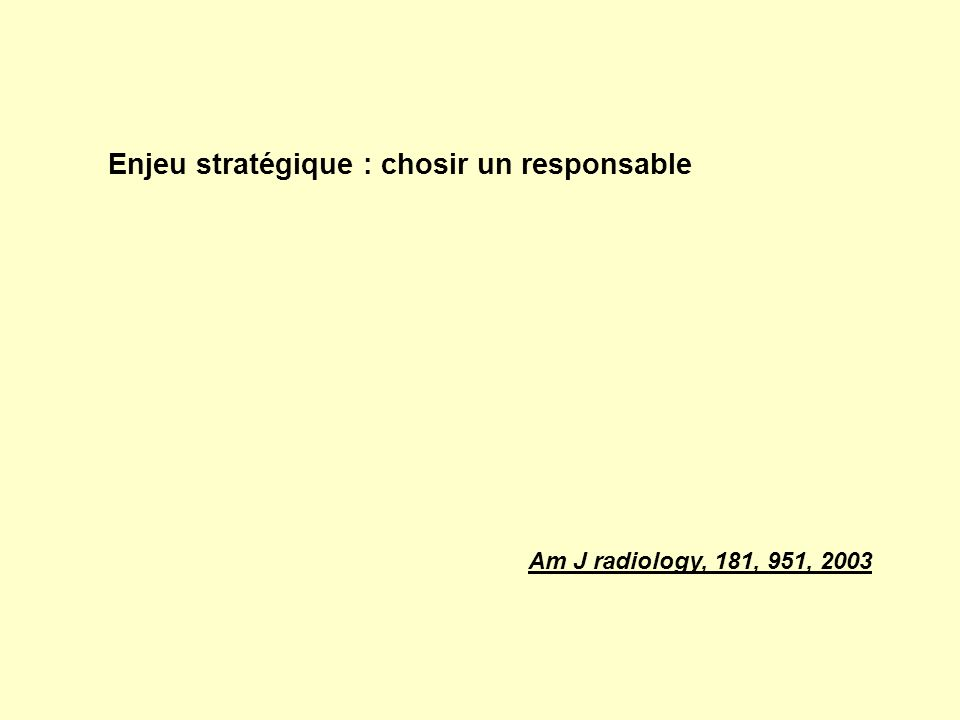 Enjeu stratégique : chosir un responsable Am J radiology, 181, 951, 2003