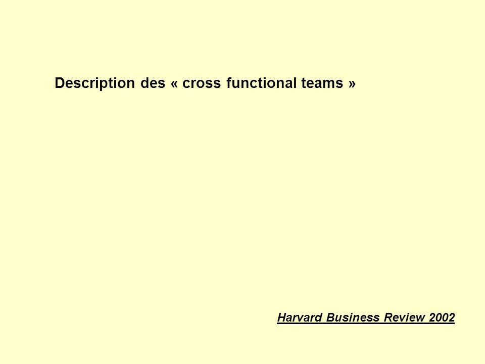 Description des « cross functional teams » Harvard Business Review 2002