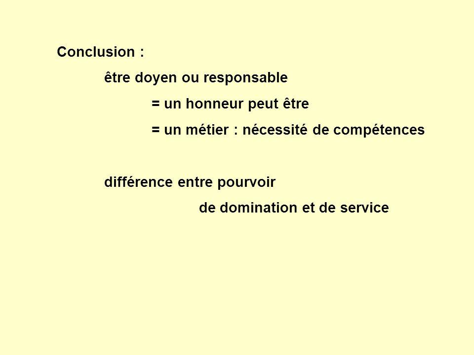 Conclusion : être doyen ou responsable = un honneur peut être = un métier : nécessité de compétences différence entre pourvoir de domination et de service