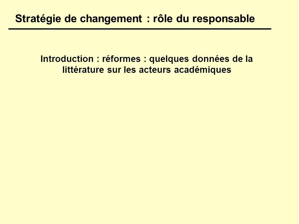 Introduction : réformes : quelques données de la littérature sur les acteurs académiques Stratégie de changement : rôle du responsable