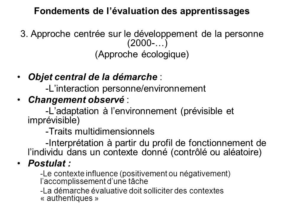 Fondements de lévaluation des apprentissages 3. Approche centrée sur le développement de la personne (2000-…) (Approche écologique) Objet central de l