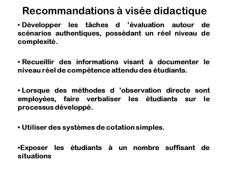 Recommandations à visée didactique Développer les tâches d évaluation autour de scénarios authentiques, possédant un réel niveau de complexité. Recuei