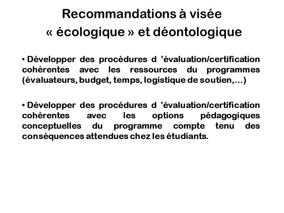 Recommandations à visée « écologique » et déontologique Développer des procédures d évaluation/certification cohérentes avec les ressources du program