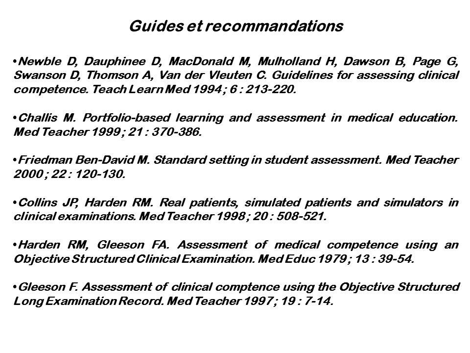 Guides et recommandations Newble D, Dauphinee D, MacDonald M, Mulholland H, Dawson B, Page G, Swanson D, Thomson A, Van der Vleuten C. Guidelines for