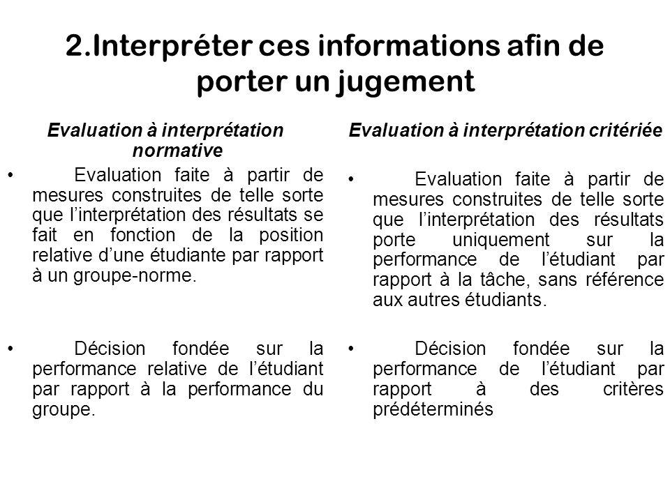 2.Interpréter ces informations afin de porter un jugement Evaluation à interprétation normative Evaluation faite à partir de mesures construites de te