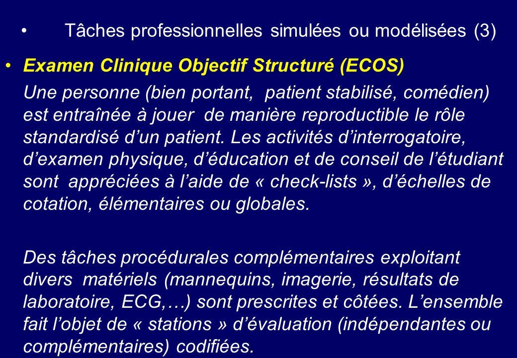 Tâches professionnelles simulées ou modélisées (3) Examen Clinique Objectif Structuré (ECOS) Une personne (bien portant, patient stabilisé, comédien)