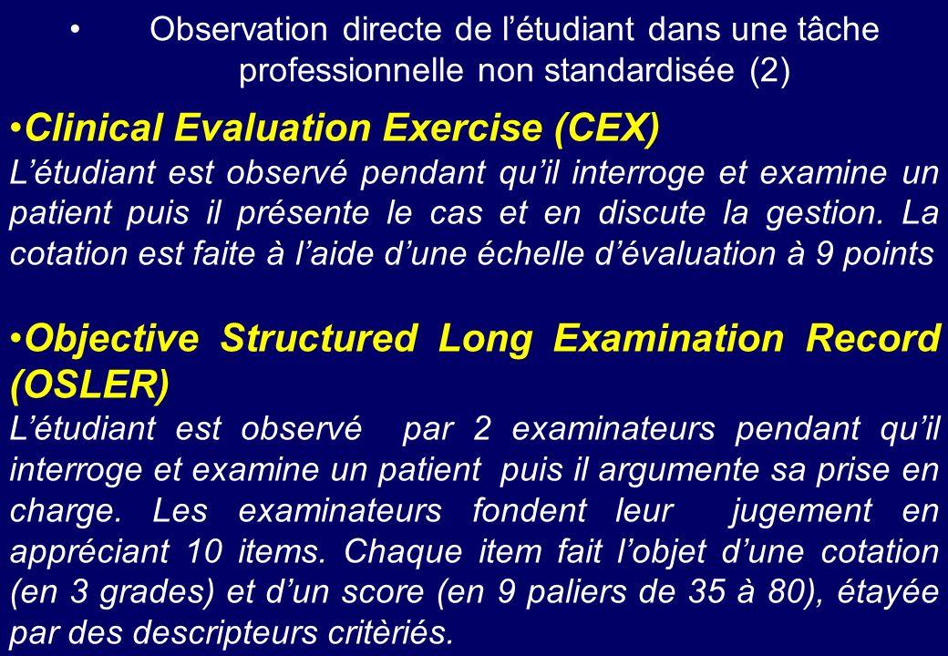Observation directe de létudiant dans une tâche professionnelle non standardisée (2) Clinical Evaluation Exercise (CEX) Létudiant est observé pendant
