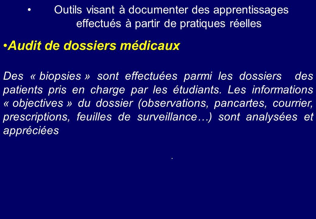 Outils visant à documenter des apprentissages effectués à partir de pratiques réelles Audit de dossiers médicaux Des « biopsies » sont effectuées parm