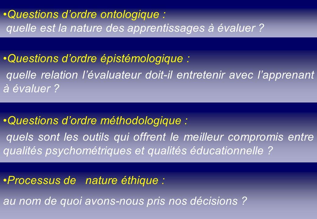 Questions dordre ontologique : quelle est la nature des apprentissages à évaluer ? Questions dordre méthodologique : quels sont les outils qui offrent