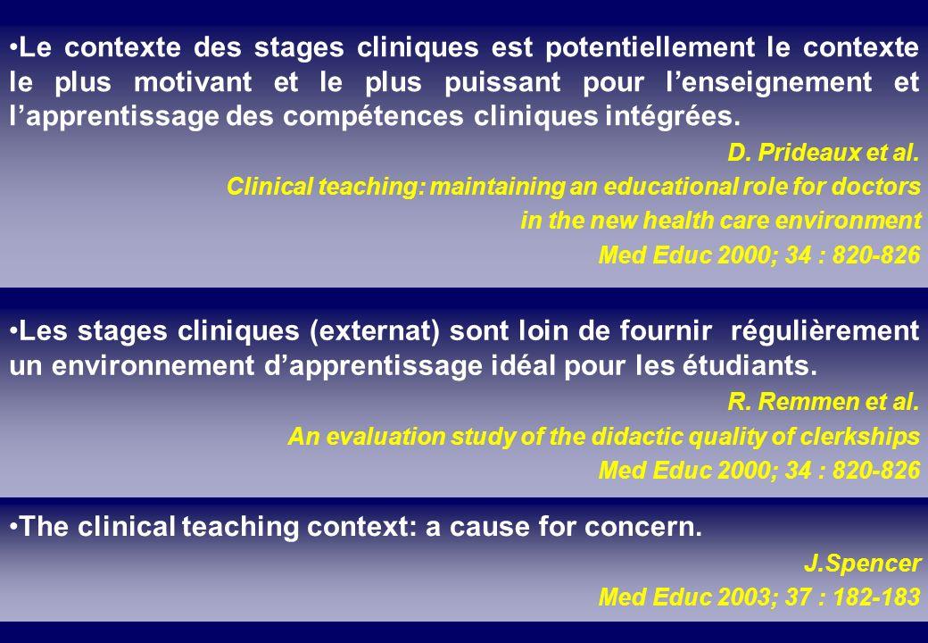 Le contexte des stages cliniques est potentiellement le contexte le plus motivant et le plus puissant pour lenseignement et lapprentissage des compéte