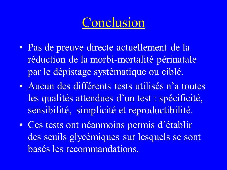 Conclusion Pas de preuve directe actuellement de la réduction de la morbi-mortalité périnatale par le dépistage systématique ou ciblé. Aucun des diffé