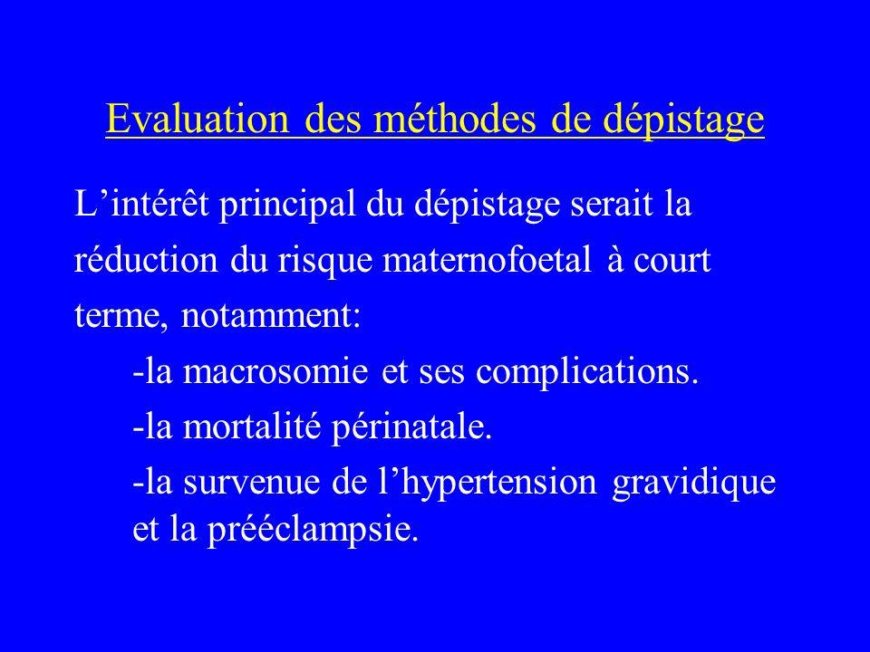 Evaluation des méthodes de dépistage Lintérêt principal du dépistage serait la réduction du risque maternofoetal à court terme, notamment: -la macroso