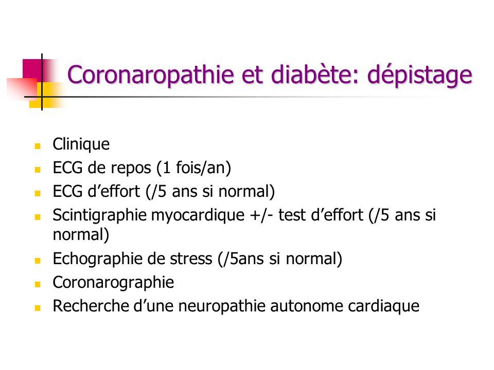 Coronaropathie et diabète: dépistage Clinique ECG de repos (1 fois/an) ECG deffort (/5 ans si normal) Scintigraphie myocardique +/- test deffort (/5 a