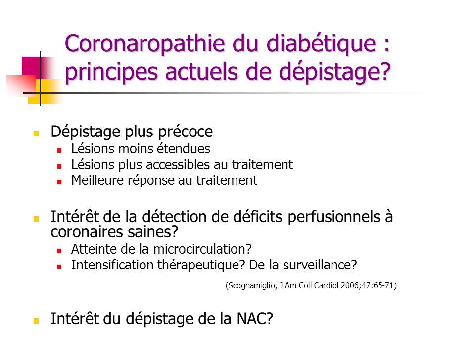 Coronaropathie du diabétique : principes actuels de dépistage? Dépistage plus précoce Lésions moins étendues Lésions plus accessibles au traitement Me