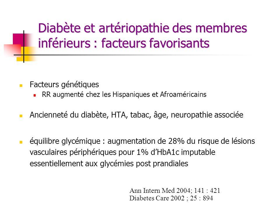Diabète et artériopathie des membres inférieurs : facteurs favorisants Facteurs génétiques RR augmenté chez les Hispaniques et Afroaméricains Ancienne