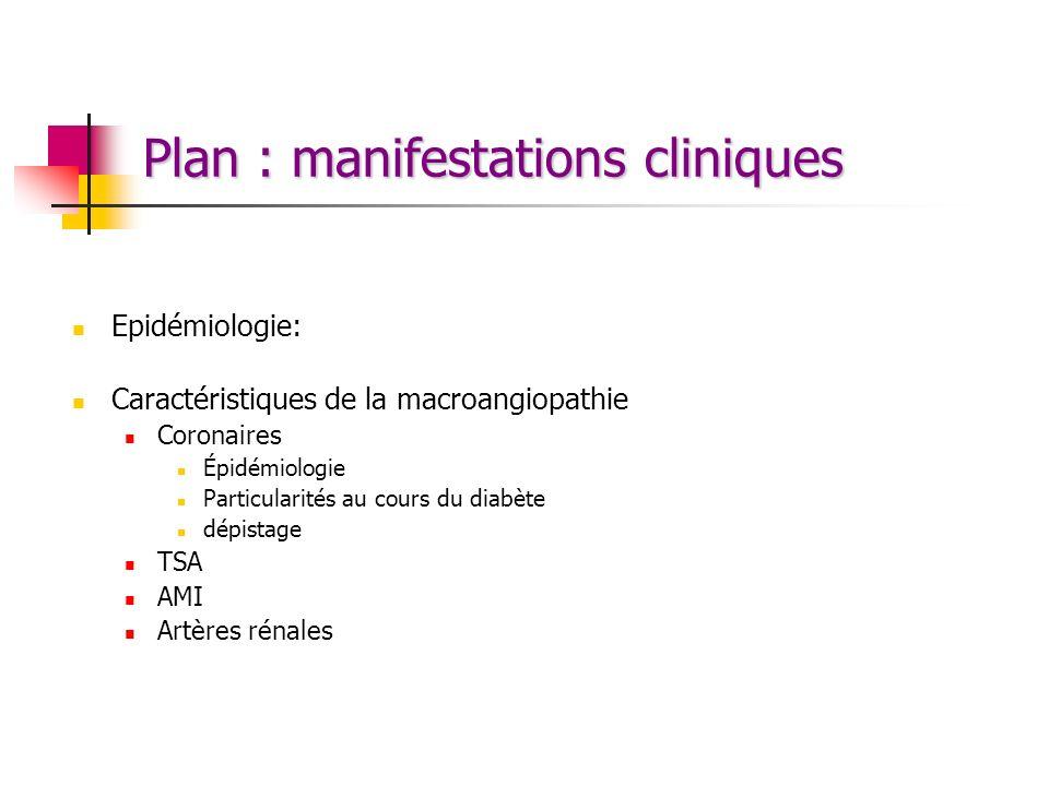 Plan : manifestations cliniques Epidémiologie: Caractéristiques de la macroangiopathie Coronaires Épidémiologie Particularités au cours du diabète dép
