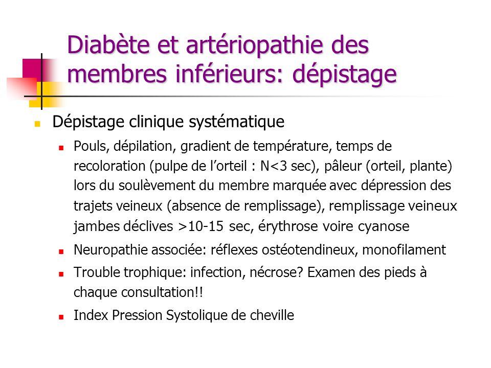 Diabète et artériopathie des membres inférieurs: dépistage Dépistage clinique systématique Pouls, dépilation, gradient de température, temps de recolo