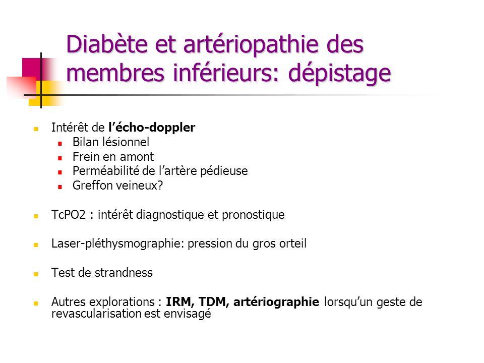 Diabète et artériopathie des membres inférieurs: dépistage Intérêt de lécho-doppler Bilan lésionnel Frein en amont Perméabilité de lartère pédieuse Gr