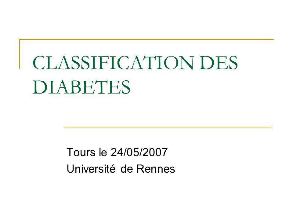 Classification des Diabètes Nouvelle classification de 1998 initiée par un comité dexperts ( dernière version de 1979) Désormais fondée sur létiopathogénie et non plus sur le mode de traitement du diabète Diabète de type 1 remplace lancien DID Diabète de type 2 pour lancien DNID