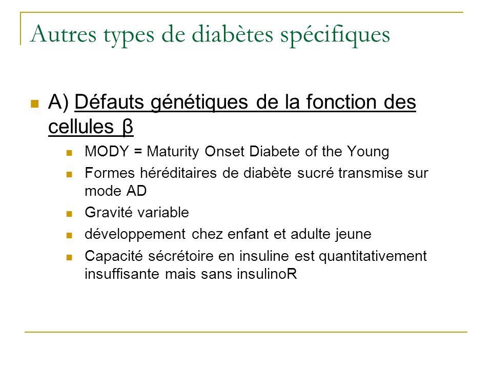 Autres types de diabètes spécifiques A) Défauts génétiques de la fonction des cellules β MODY = Maturity Onset Diabete of the Young Formes héréditaire