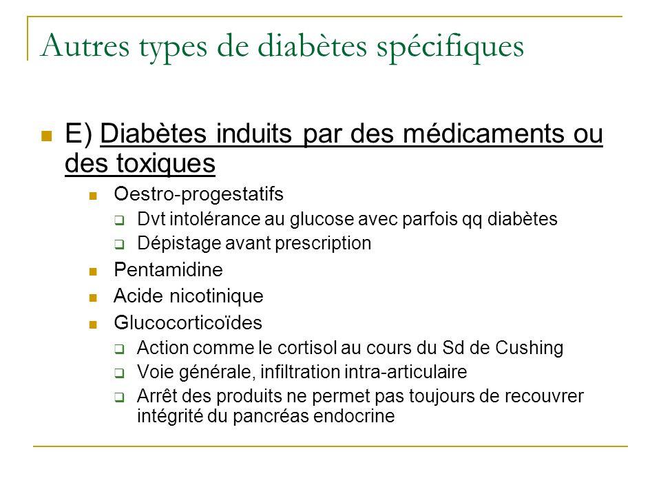 Autres types de diabètes spécifiques E) Diabètes induits par des médicaments ou des toxiques Oestro-progestatifs Dvt intolérance au glucose avec parfo