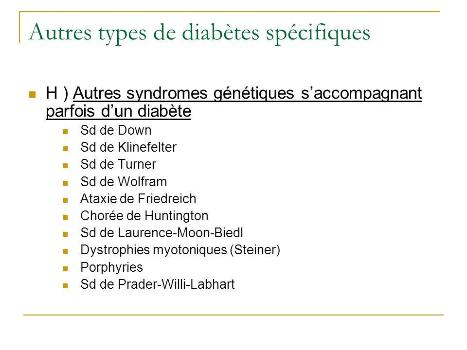 Autres types de diabètes spécifiques H ) Autres syndromes génétiques saccompagnant parfois dun diabète Sd de Down Sd de Klinefelter Sd de Turner Sd de