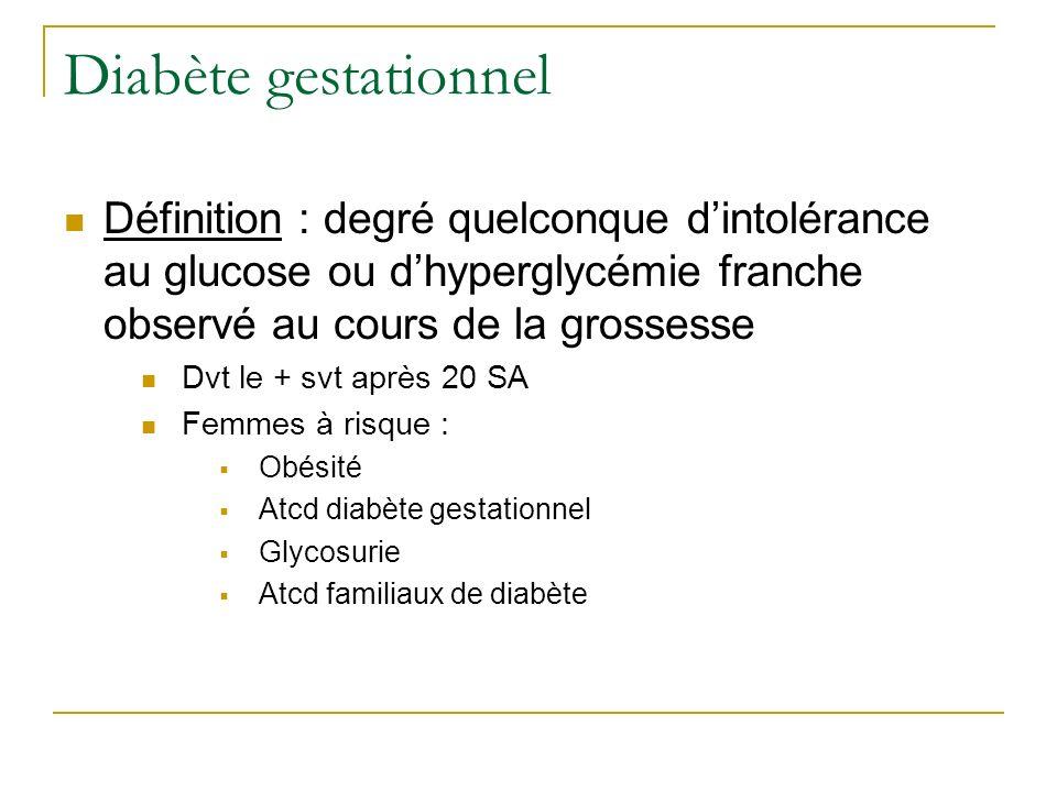 Diabète gestationnel Définition : degré quelconque dintolérance au glucose ou dhyperglycémie franche observé au cours de la grossesse Dvt le + svt apr