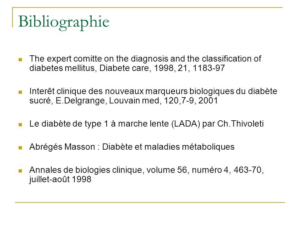 Bibliographie The expert comitte on the diagnosis and the classification of diabetes mellitus, Diabete care, 1998, 21, 1183-97 Interêt clinique des no