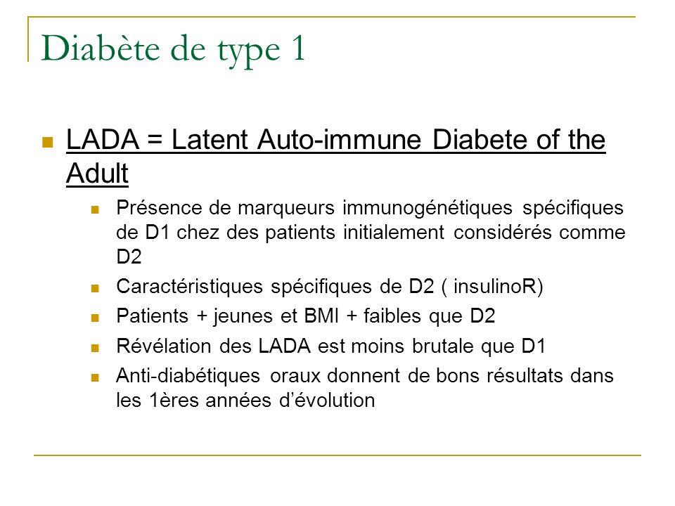 Diabète de type 1 LADA = Latent Auto-immune Diabete of the Adult Présence de marqueurs immunogénétiques spécifiques de D1 chez des patients initialeme