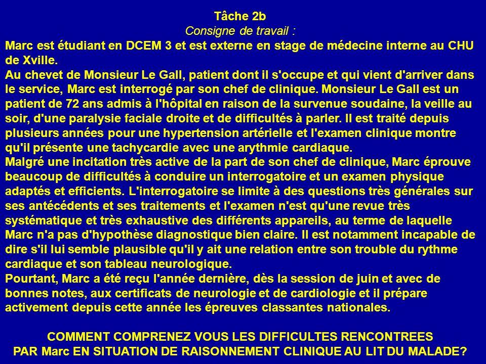 Tâche 2b Consigne de travail : Marc est étudiant en DCEM 3 et est externe en stage de médecine interne au CHU de Xville.