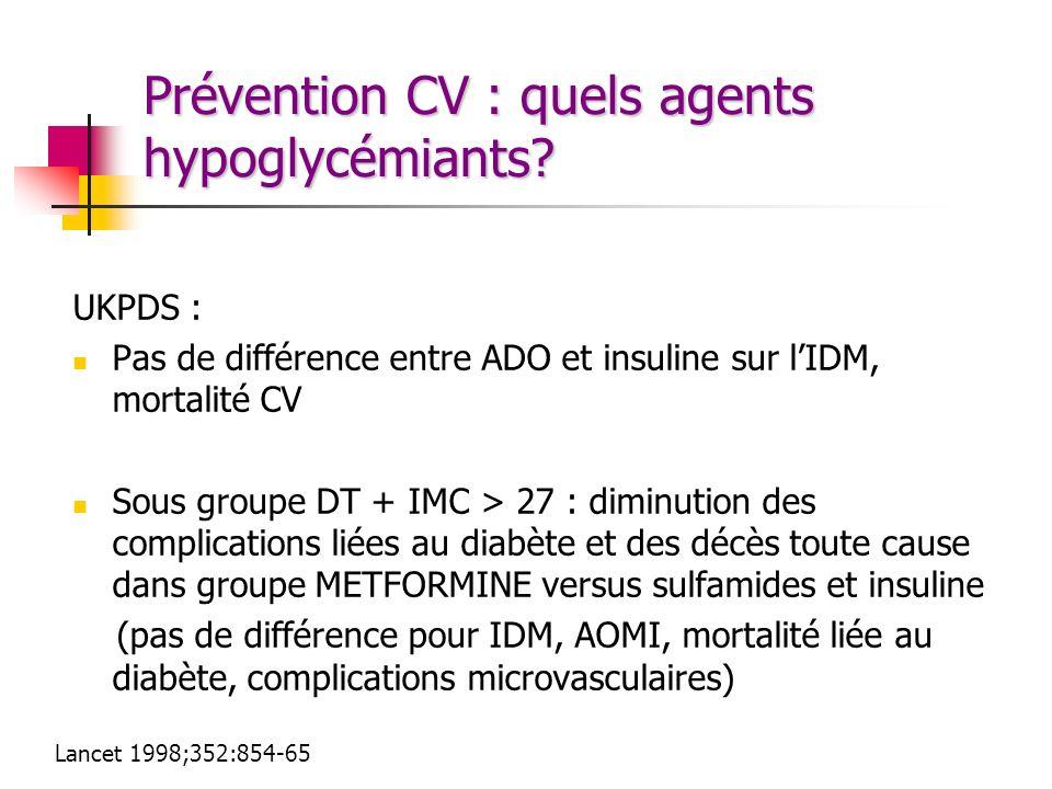 Prévention CV : quels agents hypoglycémiants? UKPDS : Pas de différence entre ADO et insuline sur lIDM, mortalité CV Sous groupe DT + IMC > 27 : dimin