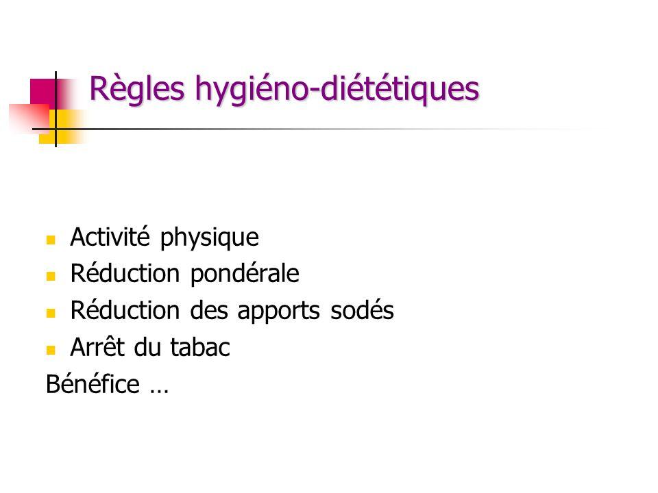 Règles hygiéno-diététiques Activité physique Réduction pondérale Réduction des apports sodés Arrêt du tabac Bénéfice …
