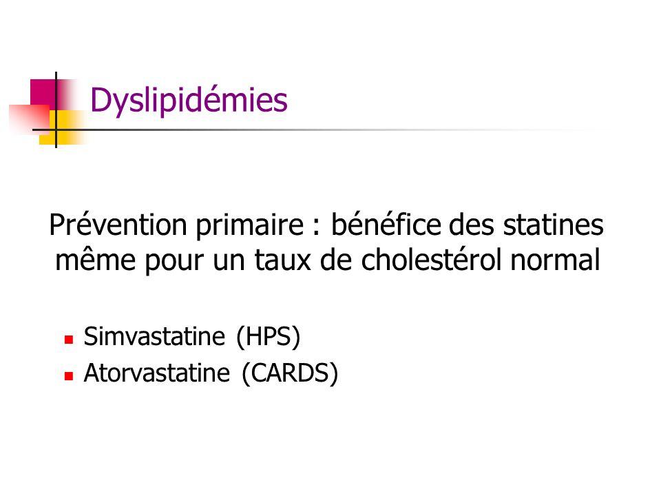 Dyslipidémies Prévention primaire : bénéfice des statines même pour un taux de cholestérol normal Simvastatine (HPS) Atorvastatine (CARDS)