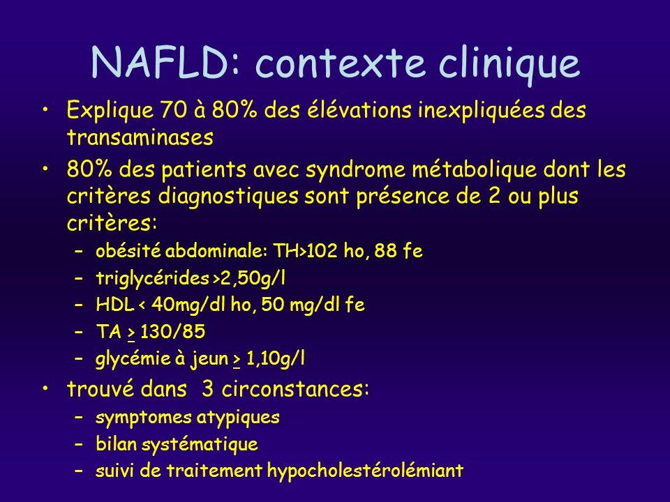 NAFLD: contexte clinique Explique 70 à 80% des élévations inexpliquées des transaminases 80% des patients avec syndrome métabolique dont les critères