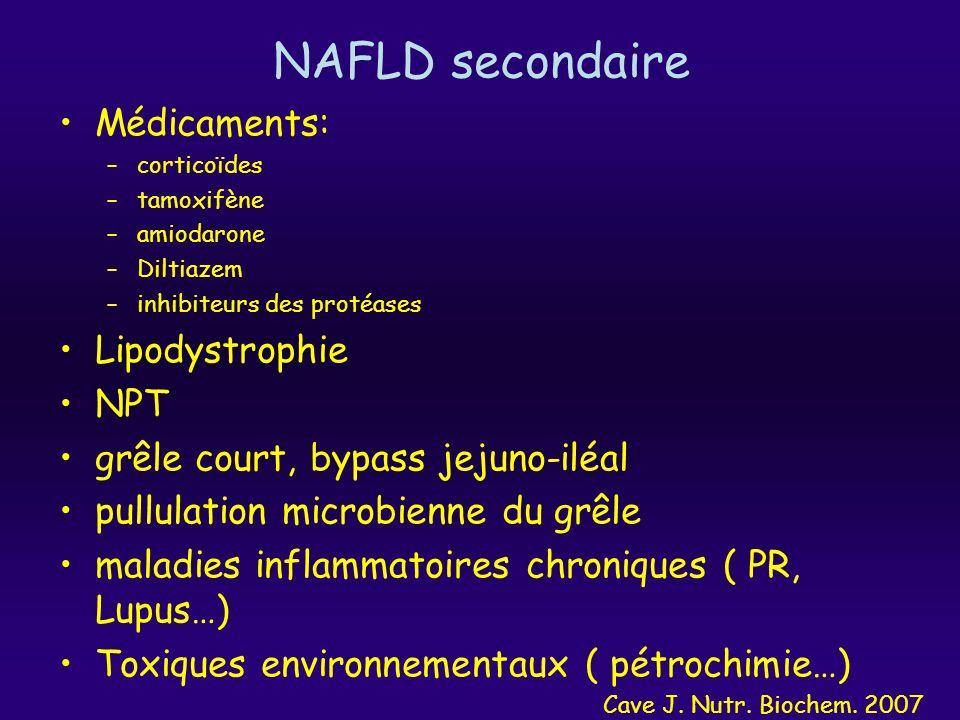 NAFLD secondaire Médicaments: –corticoïdes –tamoxifène –amiodarone –Diltiazem –inhibiteurs des protéases Lipodystrophie NPT grêle court, bypass jejuno