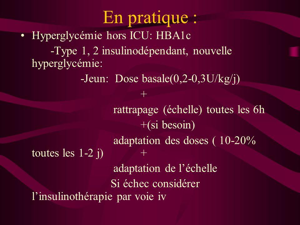 En pratique : Hyperglycémie hors ICU: HBA1c -Type 1, 2 insulinodépendant, nouvelle hyperglycémie: -Jeun: Dose basale(0,2-0,3U/kg/j) + rattrapage (éche