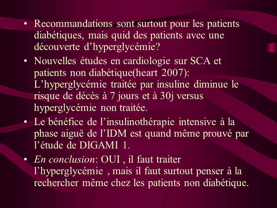 Recommandations sont surtout pour les patients diabétiques, mais quid des patients avec une découverte dhyperglycémie? Nouvelles études en cardiologie