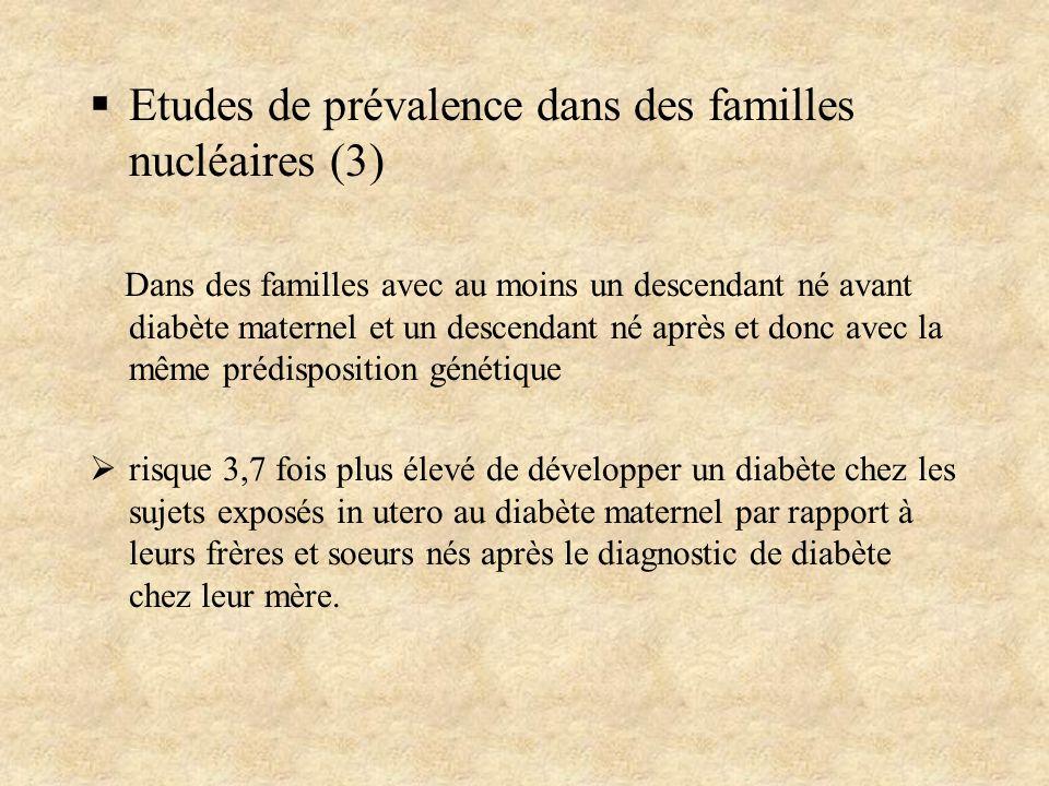 Etudes de prévalence dans des familles nucléaires (3) Dans des familles avec au moins un descendant né avant diabète maternel et un descendant né aprè