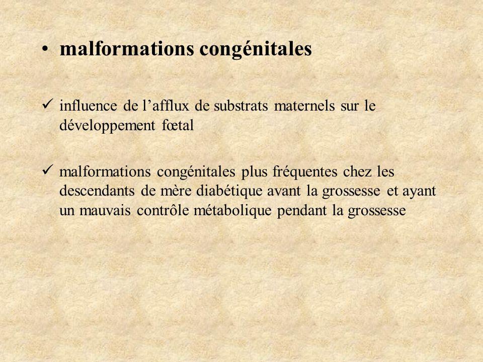 malformations congénitales influence de lafflux de substrats maternels sur le développement fœtal malformations congénitales plus fréquentes chez les