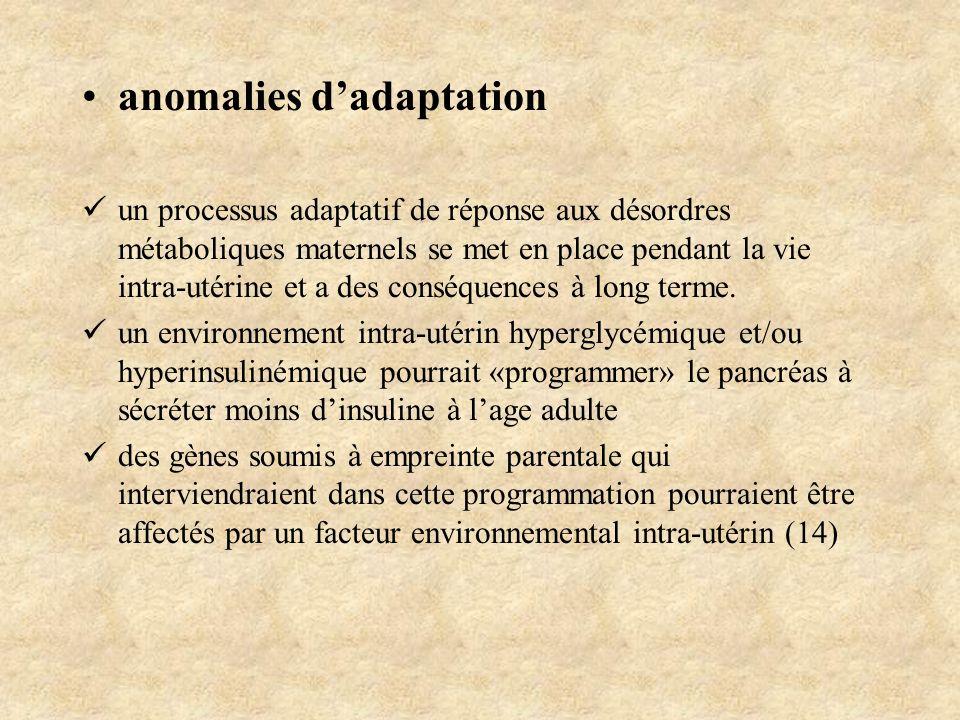 anomalies dadaptation un processus adaptatif de réponse aux désordres métaboliques maternels se met en place pendant la vie intra-utérine et a des con