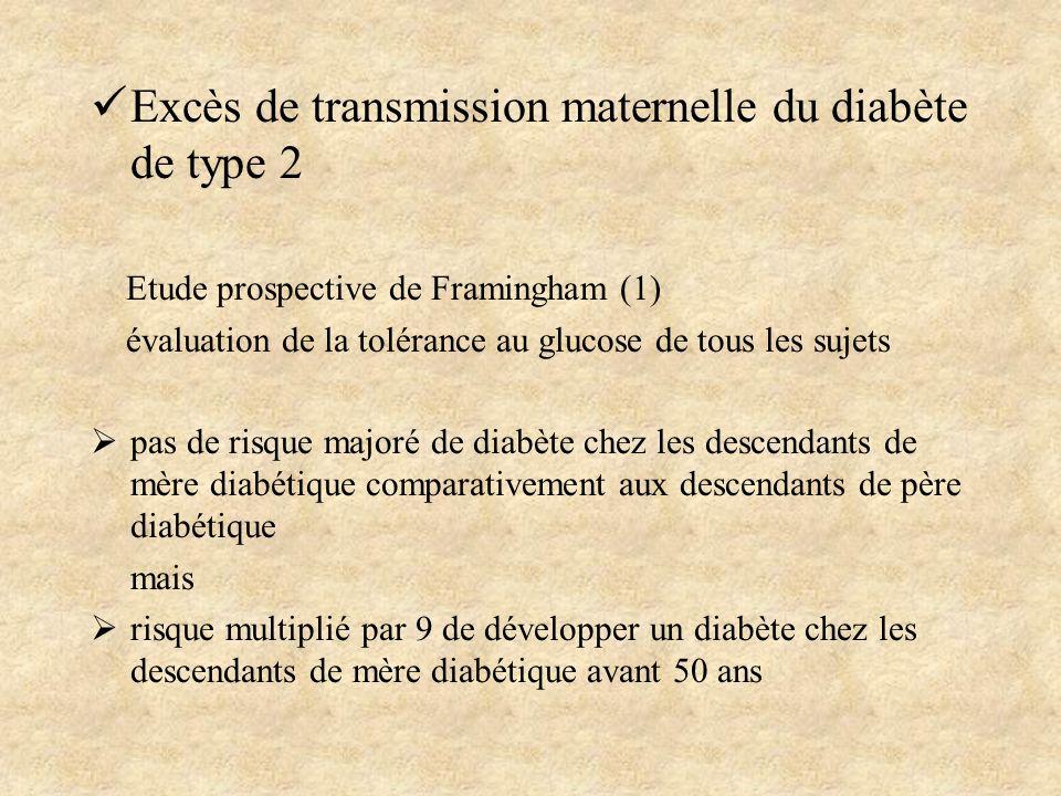 Excès de transmission maternelle du diabète de type 2 Etude prospective de Framingham (1) évaluation de la tolérance au glucose de tous les sujets pas