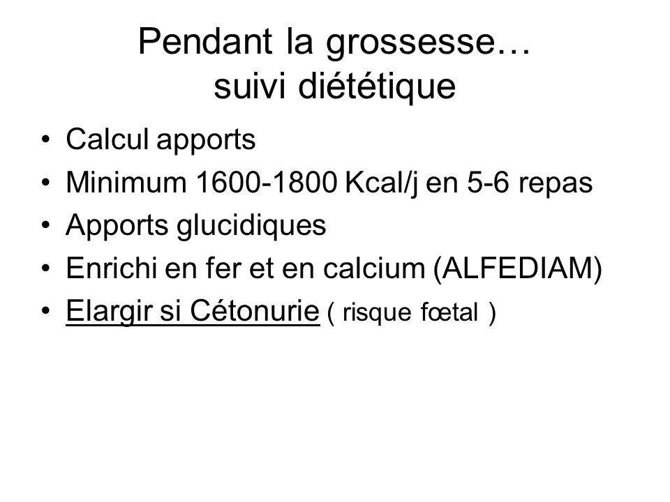 Pendant la grossesse… suivi diététique Calcul apports Minimum 1600-1800 Kcal/j en 5-6 repas Apports glucidiques Enrichi en fer et en calcium (ALFEDIAM