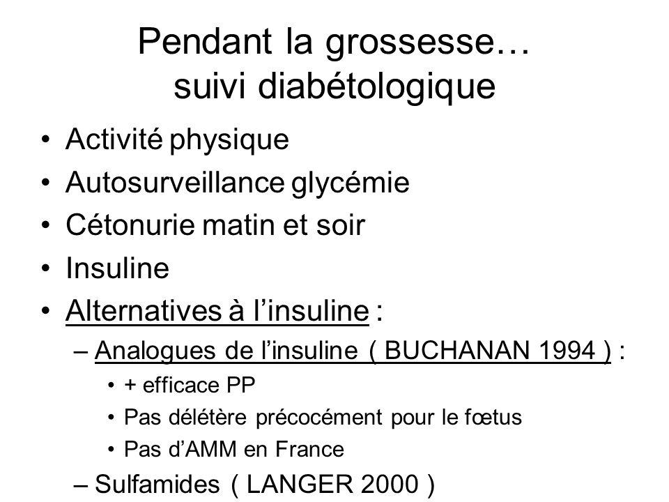 Pendant la grossesse… suivi diabétologique Activité physique Autosurveillance glycémie Cétonurie matin et soir Insuline Alternatives à linsuline : –An
