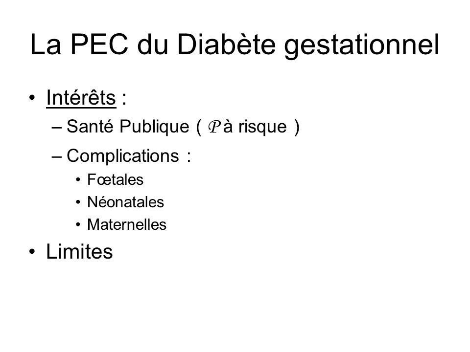 La PEC du Diabète gestationnel Intérêts Limites : –risque linéaire ( pas deffet seuil ) –bénéfice/risque ( LANGER 1989 ) : > 1.05 g/l : macrosomie > 24 % < 0.87 g/l : macrosomie < 2% mais RCIU 23%