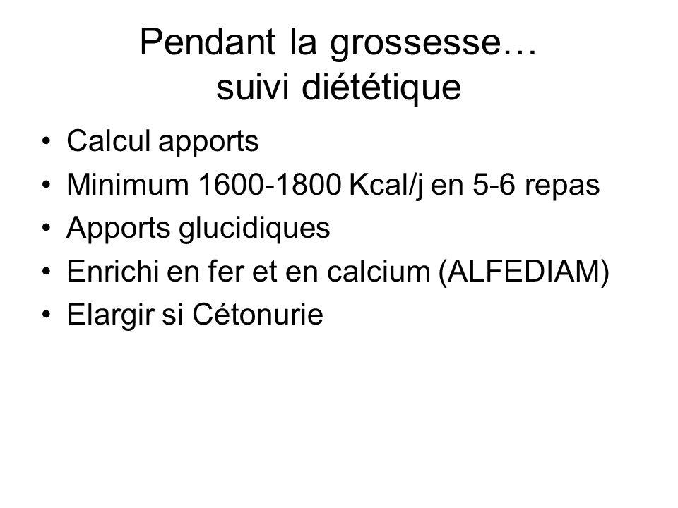 Pendant la grossesse… suivi diabétologique Activité physique Autosurveillance glycémie Cétonurie matin et soir Insuline Alternatives à linsuline : –Analogues de linsuline ( BUCHANAN 1994 ) –Sulfamides ( LANGER 2000 )