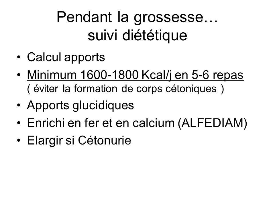 Pendant la grossesse… suivi diététique Calcul apports Minimum 1600-1800 Kcal/j en 5-6 repas ( éviter la formation de corps cétoniques ) Apports glucid