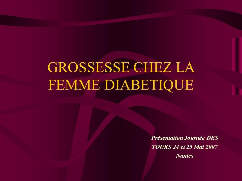 GROSSESSE CHEZ LA FEMME DIABETIQUE Présentation Journée DES TOURS 24 et 25 Mai 2007 Nantes